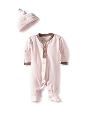 Coccoli Baby Velour Footie with Cap (Pink)
