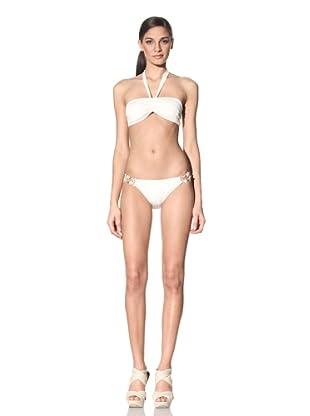 Anika Brazil Women's Bandeau Bikini Top & Bottom with Coconut Shell Sides (Cream)