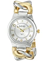 August Steiner Women's AS8112TTG Swiss Quartz Diamond Two-tone Twist Chain Bracelet Watch