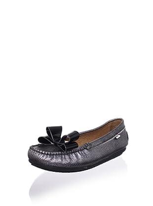 Venettini Kid's Violet Loafer (Black Silver Embossed/Black Patent Bow)