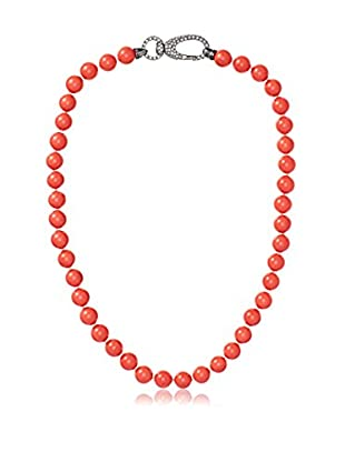 CZ by Kenneth Jay Lane Fancy Coral CZ Lobster Beaded Necklace