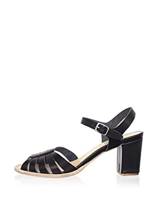 Swedish Hasbeens Women's Leather Peep-Toe Sandal (Black/black)