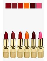 BLUE HEAVEN Combo of 6 Xpression Lipstick (R 002 CHERRY RED, M 020 MOCHA MAGIC, P 077 MOONLIGHT PINK, MO 161 MATTE ORANGE, CB 028 ICED COCOA & ON 100 ORANGE NATURAL)
