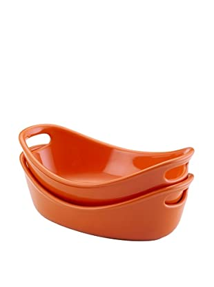 Rachael Ray Bubble and Brown Set of 2 Stoneware 12-Oz. Au Gratin Dishes (Orange)