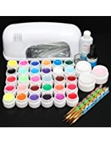 110V 9W 30 Color UV Gel Lamp Acrylic Manicure Nail Art Set Brush Cleanser