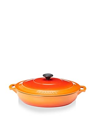 Chasseur 3.5 Qt. Double-Enameled Cast Iron Brazier with Lid (Orange Flame)