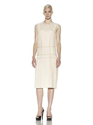Calvin Klein Collection Women's Velvet Devore Dart Detail Dress with Silk Chiffon Trim (Ivory)