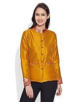 Very Me Women's Faux Silk Plain Yellow Short Jacket