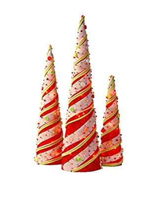 National Tree Company Set of 3 Red Sisal Cones