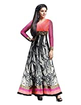 Anvi Creations Pink Offwhite Georgette Printed Embroidered Anarkali Dress Material (Pink Offwhite_Free Size)