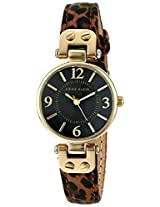 Anne Klein Women's 10/9442BKLE Leopard Print Leather Strap Watch