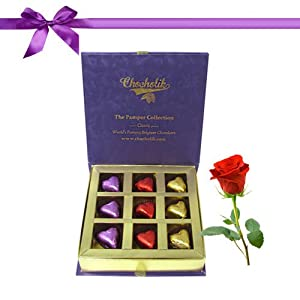 Expressions of Love 9pc Chocolate Gift Box with Rose - Chocholik Luxury Chocolates