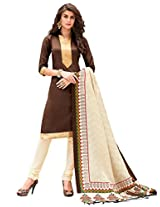 Inddus Women Brown & Beige Printed Dress Material