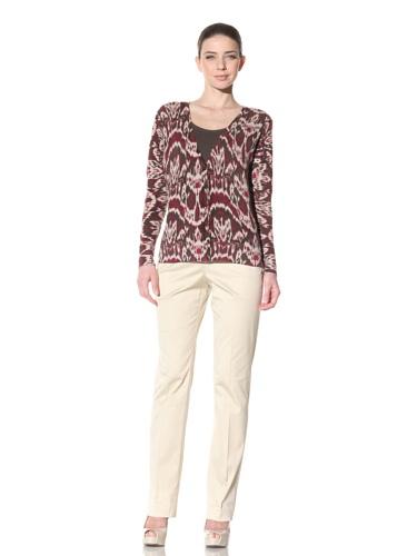 Lafayette 148 New York Women's Printed Cashmere V-Neck Cardigan (Spiceberry Multicolored)