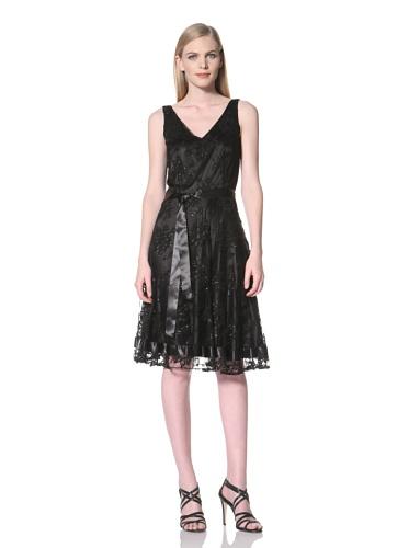 Tahari by A.S.L. Women's Metallic Lace V-Neck Dress (Black)