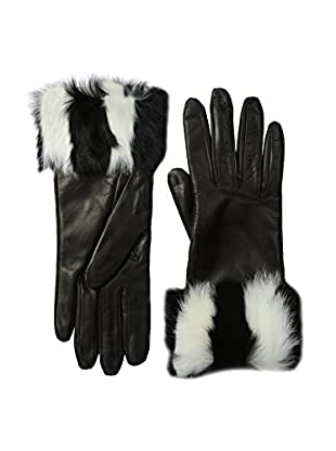 Portolano Women's Leather Gloves with Rabbit Fur Cuff (Black/Zebra)