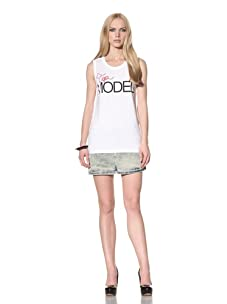 D&G by Dolce & Gabbana Women's Top Model Sleeveless Tee (White)
