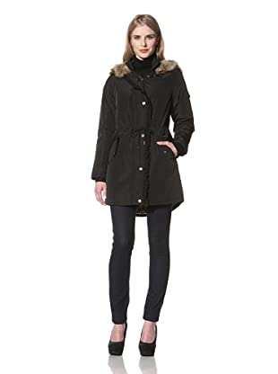 Betsey Johnson Women's Cinched Jacket with Faux Fur Trim Hood (Black)