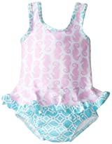 Flap Happy Baby Girls' Stella Ruffle Suit with Swim Diaper, Seahorse Parade, 12 Months