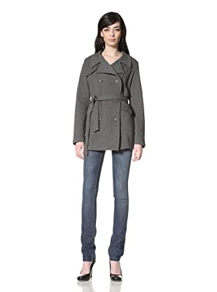 JJ Winter by JJ Basics Women's Belted Trench (Charcoal Heather Grey)