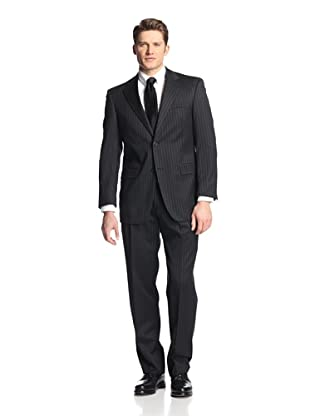 hickey Men's Chalk Striped 2 Button Center Vent Suit with Pleated Trousers (Black)