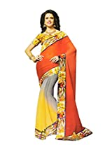 Shree Saree Women's Georgette Less Saree With Blouse Piece (2002_Multi-Coloured)