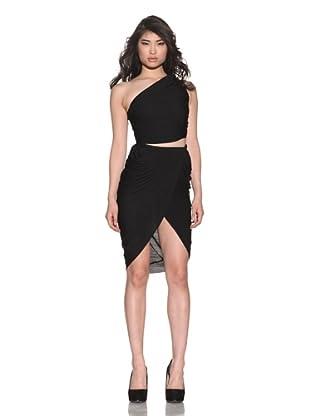 Halston Women's One Shoulder Cut-Out Dress (Black)