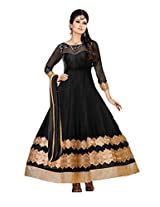Clickedia Women and Girls Net Heavy Black Anarkali Salwaar suit - Dress Material