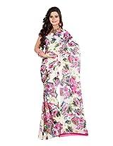 Fabdeal Cream And Pink Dani Georgette Printed Saree Sari Sarees-QXESR9097BOC