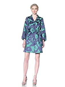Moschino Cheap and Chic Women's Belted Brocade Trench (Blue/Green Floral)