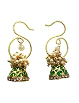 Deco Junction Designer Pearl Earring With Small Green Jhumki
