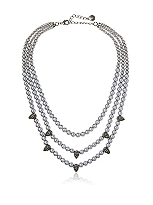 Fragments Triple-Strand Pearl & Pavé Spike Necklace