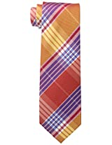 Tommy Hilfiger Men's Big Twill Plaid Tie, Orange, One Size