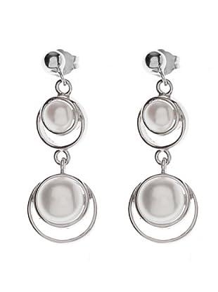 Silver One Pendientes Doble Aretes Perlas