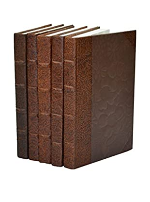 Set of 5 Leather Paper Books, Brown