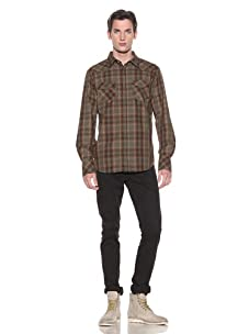 Shirt By Shirt Men's Luis Snap-Front Shirt (Olive/Red/Taupe)
