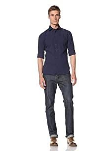 Orian Men's Minicheck Shirt (Ink Blue)