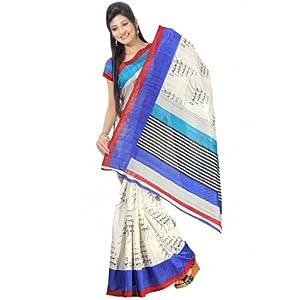 Dealtz Fashion Bhagalpuri Sari, White