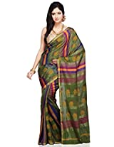 Utsav Fashion Women's Olive Green Cotton Silk Bengal Handloom Saree with Blouse