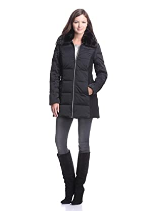 French Connection Women's Mixed Media Down Coat (Black)