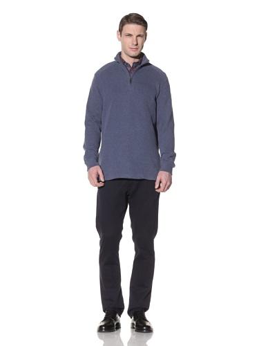 Hart Schaffner Marx Men's Quarter Zip Pullover Sweater (Navy)