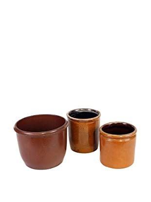 Set of 3 Danish Stoneware II, Brown/Gold