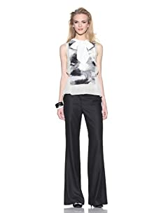 Chris Benz Women's Virginia Silk Top with Trim (Chalk)