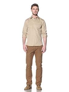 Just A Cheap Shirt Men's Cruz Button-Up Shirt (Khaki)