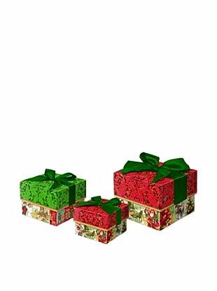 Punch Studio Set of 3 Nesting Square Trinket Boxes (Gold Foil)