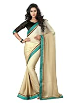Beige Color Georgette Saree with Border and Blouse4005
