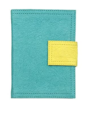 Marina Vaptzarov Small Soft Vegetal Leather Cover Travel Diary, Turquoise/Yellow