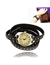 Ashiana stylish leather vintage classic bracelet style watch - Black