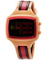 Activa By Invicta Unisex AA401-024 Watch with Salmon, Black, and Pink Band