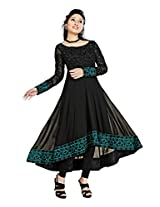 Clickedia Women Georgette Black & Pink Embroidered Anarkali Suit- Dress Material